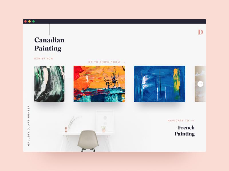 Painting Gallery Page Design clean design ui portfolio clean figma ux landing page web design ui design