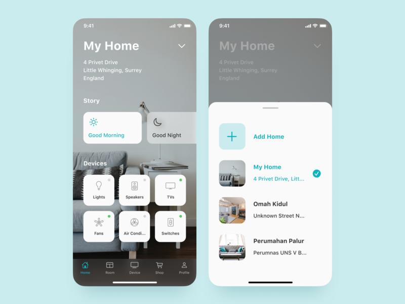 Smart Home UI Concept smart home clean ui figma mobile app iphone x ios mobile design ui ux ui design