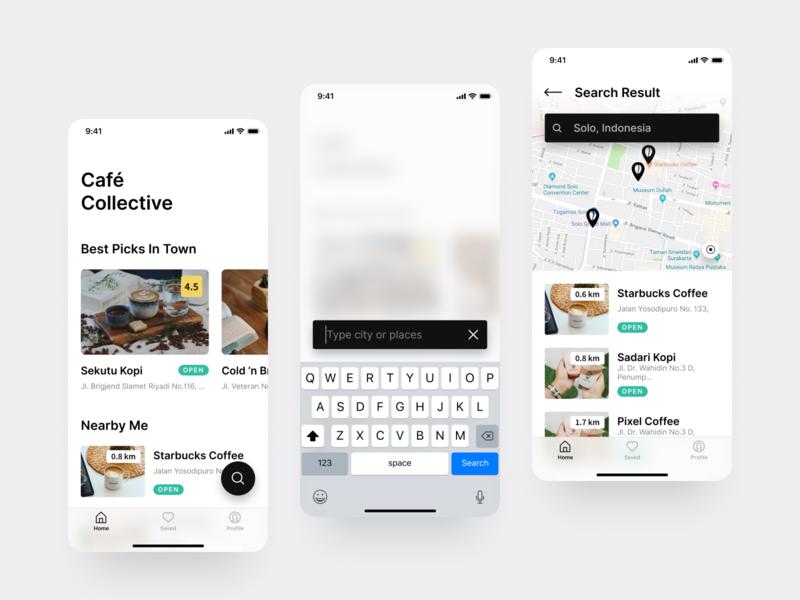 Cafe Collective iOS UI coffee coffee shop clean design figma iphone x ios mobile design clean ui ui design ux