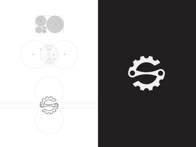 S minimal simple logo flatdesign circles geometry gear fibonacci