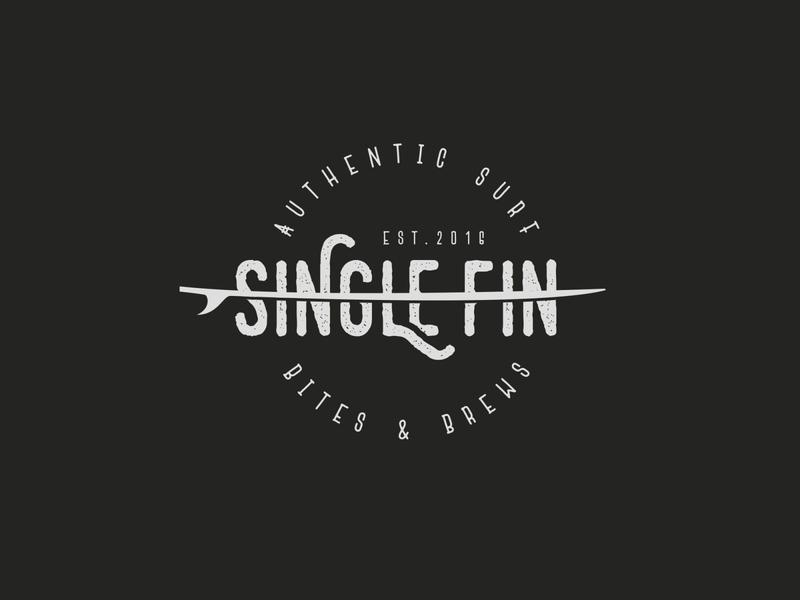 Single Fin simple logo vintage retro food bites restaurant surf