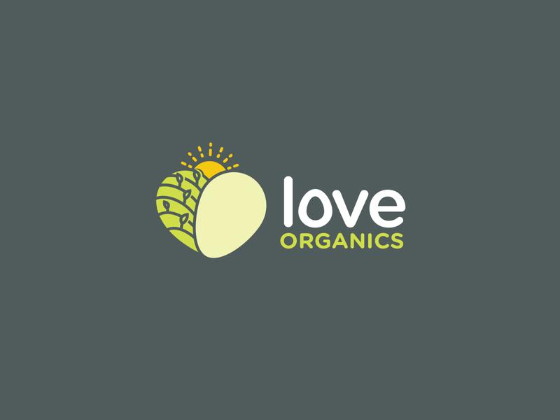 Love Organics organic flatdesign simple sun eggs vegetables heart love