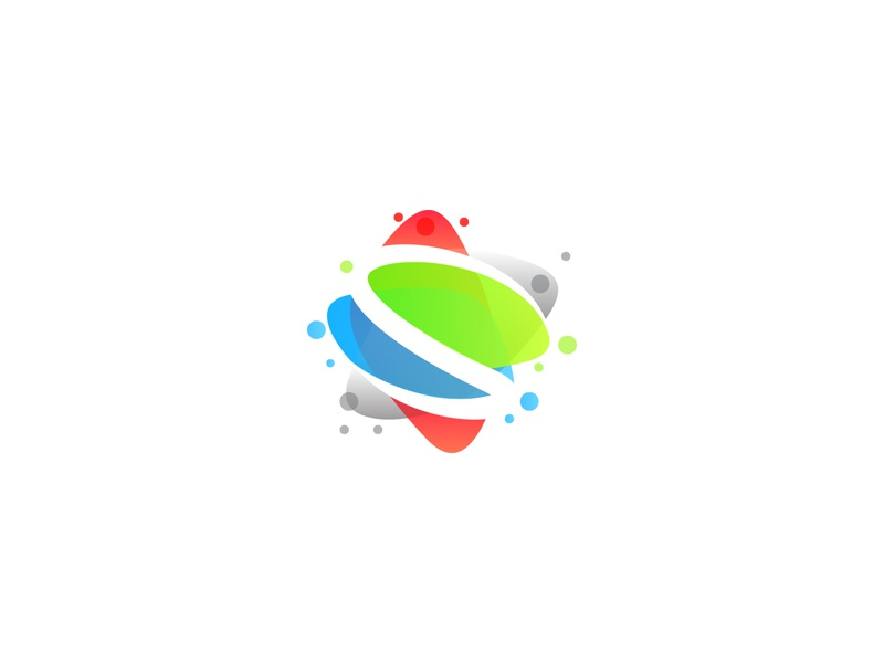 S vibrant color simple logo particles s abstract logo