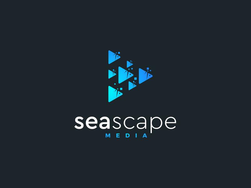 Seascape media simple logo group fishes minimalistic media escape sea