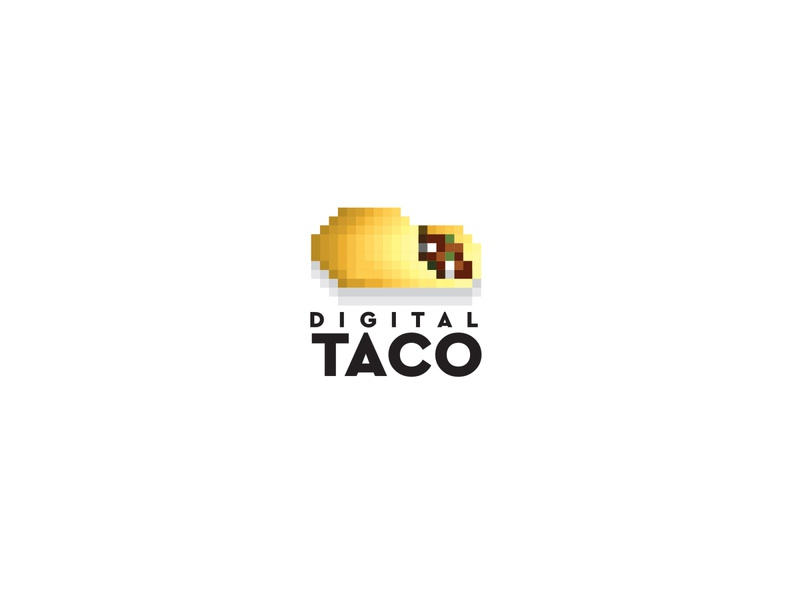 Digital Taco food abstract logo 8 bit simple pixels pixelart taco digital