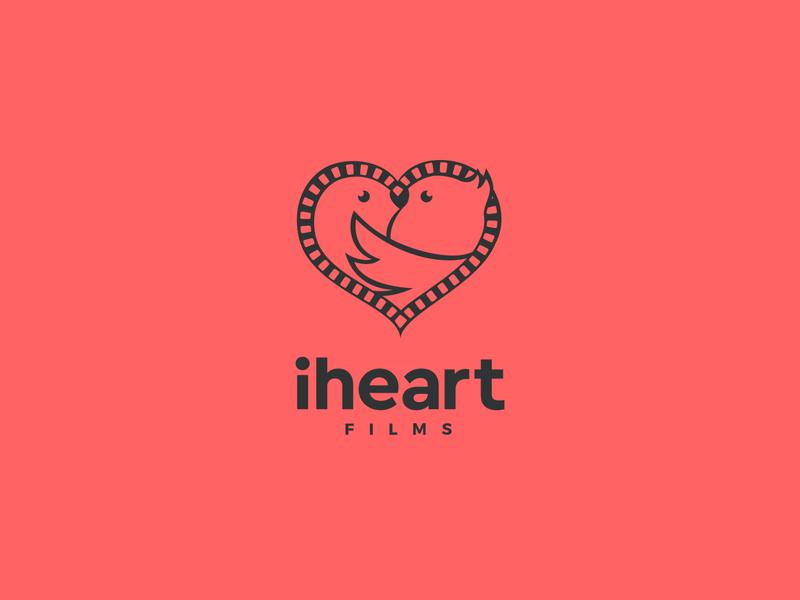 iheart films simple logo movie film love birds heart