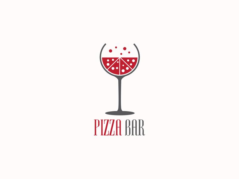 Pizza Bar flat logo simple glass pizza slice wine bar pizza