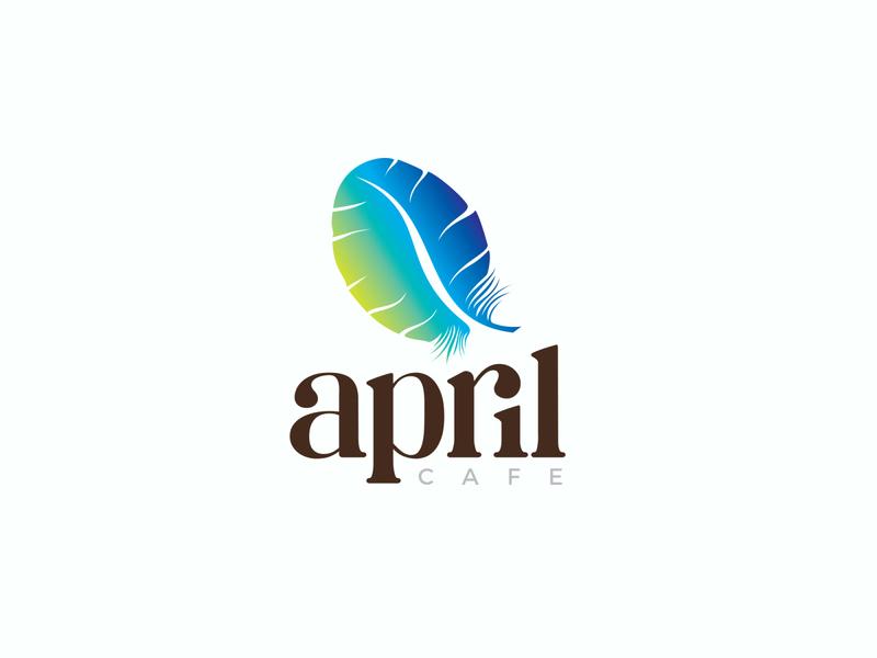 April Cafe simple logo design coffee bean cafe april parrot feather