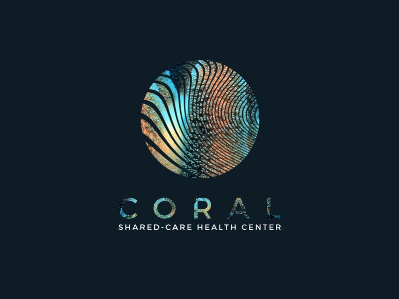Coral Health logo linestyle health care texture popup vivid colors sea ocean coral