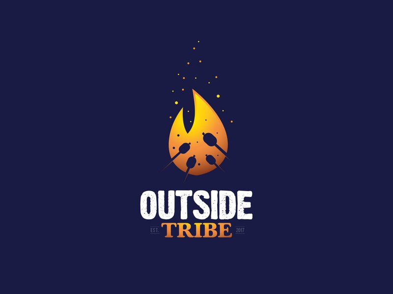 Outside Tribe simple negative space logo hanging nature tribe fire campfire outside camping