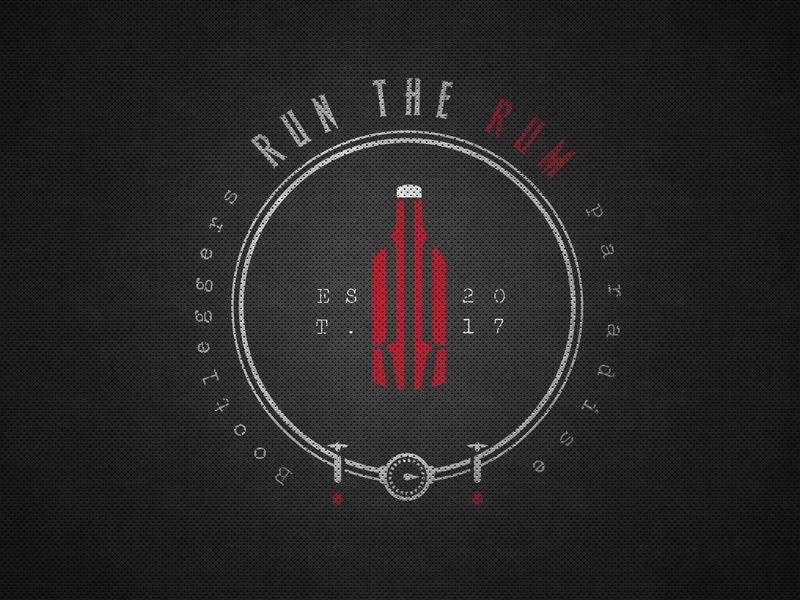 Run the Rum symbol eye catching simple logo bottle