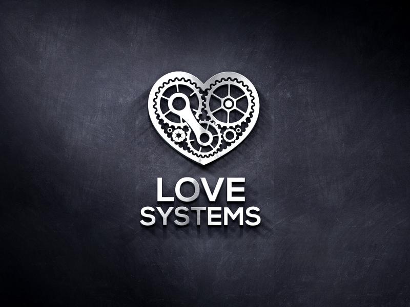 Love Systems simple logo mechanical heart system mechanism love