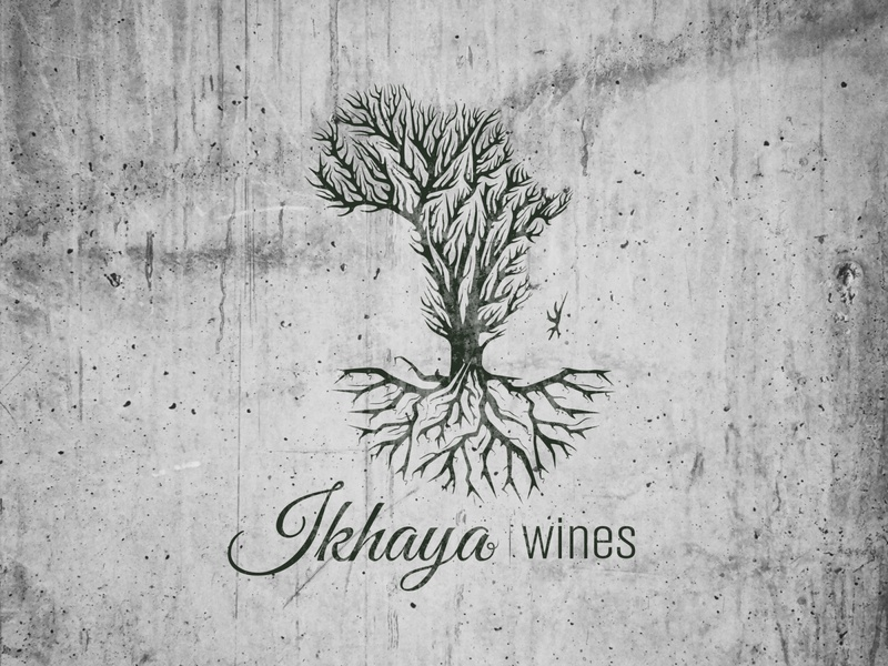 Ikhaya wines 2 tree logo illustration ikhaya grapes africa
