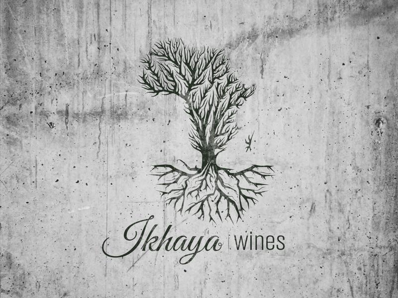 Ikhaya wines 2 tree logo illustration ikhaya grapes africa