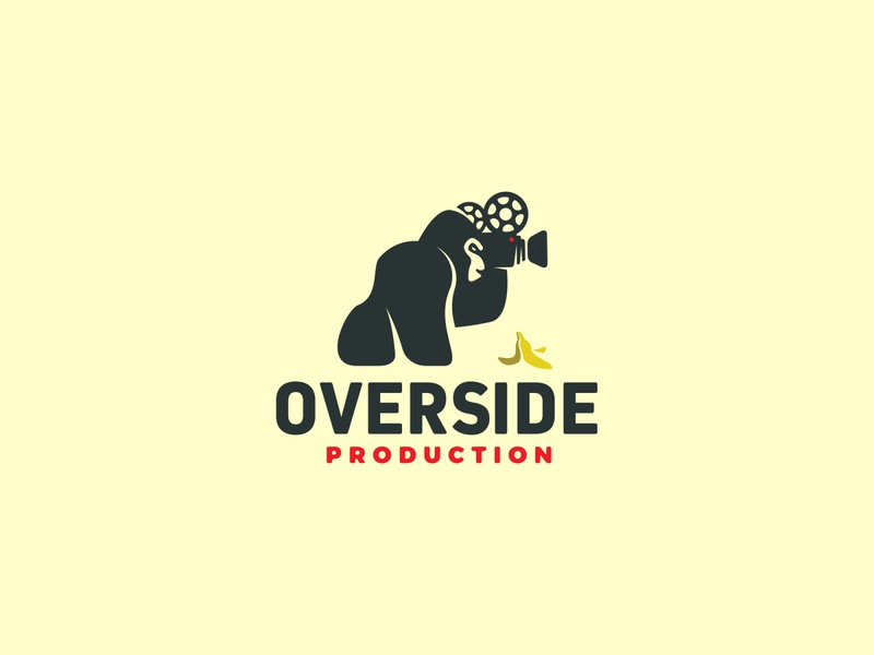 Overside Production simple logo flat logo action cinema banana camera movie production gorila