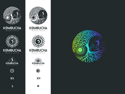 Yin and yang logo illustration water mountain leaf tree of life moon sun yin and yang