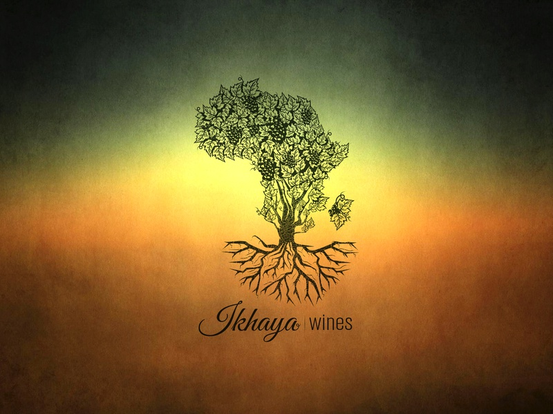 Ikhaya Wines logo illustration tree grapes ikhaya wine africa