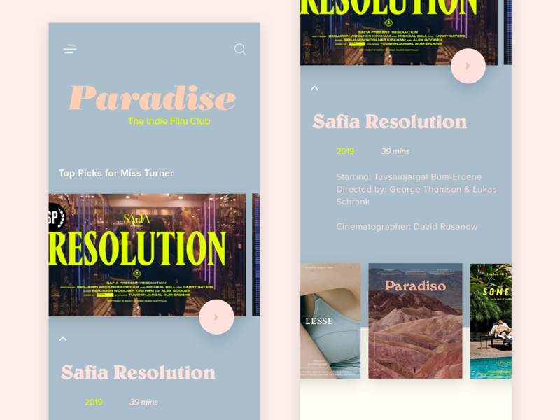Paradise indie film club mobi branding ux typography ui mobi ui design user interface film app
