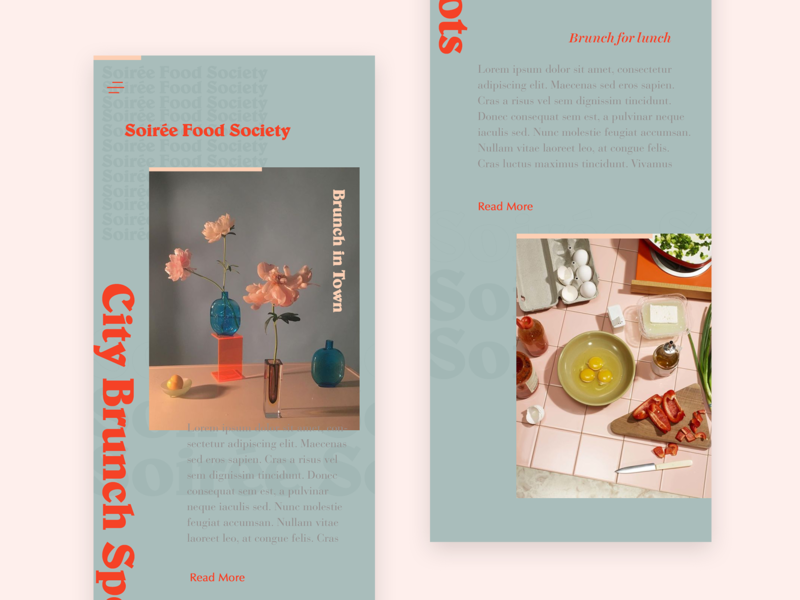 Soiree Food Society Mobile Version 2 ux typography foodapp branding brand mobi mobi ui design ui user interface app