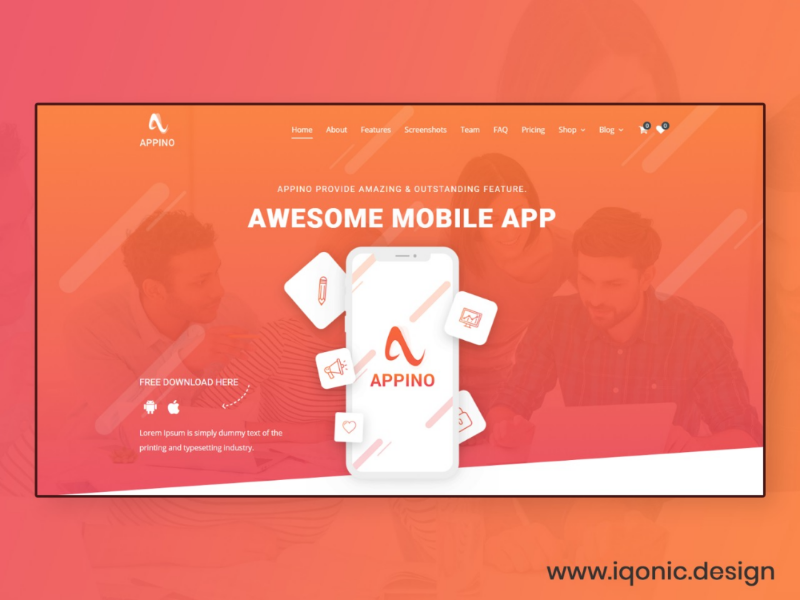 Appino Landing page Template template design ui