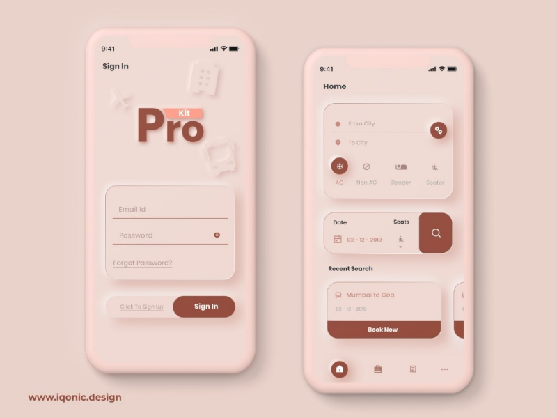 ProKit - Android & iOS UI Kit booking app bus book app rose gold app dubble shadow app travel app soft ui app design bus booking app travelapp softui