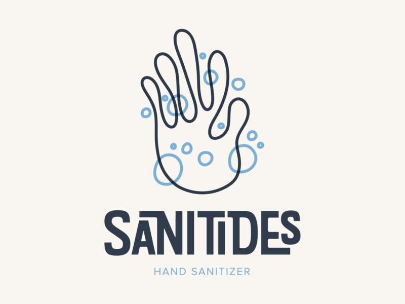 SaniTides Hand Sanitizer bubbles logo design typography branding and identity branding branding design logo vector design hand hand sanitizer