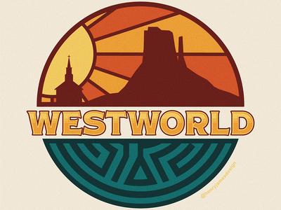 Westworld westworld design illustration vector badgedesign badge design outdoorbadge outdoor badge badge