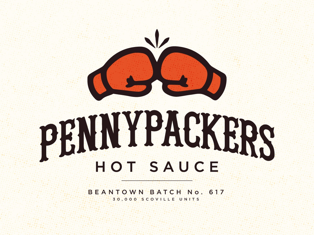 Pennypackers Hot Sauce hotsauce boxing logo design lettering scoville bean town beantown boxing gloves hot sauce packaging identity brandingdesign branding design branding logo designs logodesign logo
