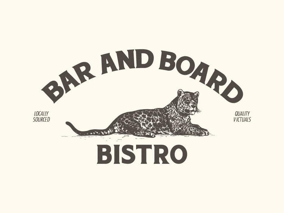 Bar and Board Bistro handpainted sign design thames rhode island newport bistro logo bistro leopard identity design branding and identity branding design branding restaurant branding restaurant logo logo design logo