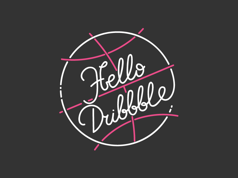 Hello Dribbble! hello thanks ball lettering dribbble debut first shot
