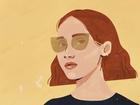 Girl with the glasses.