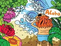 Lost in Tropical Island Illustration
