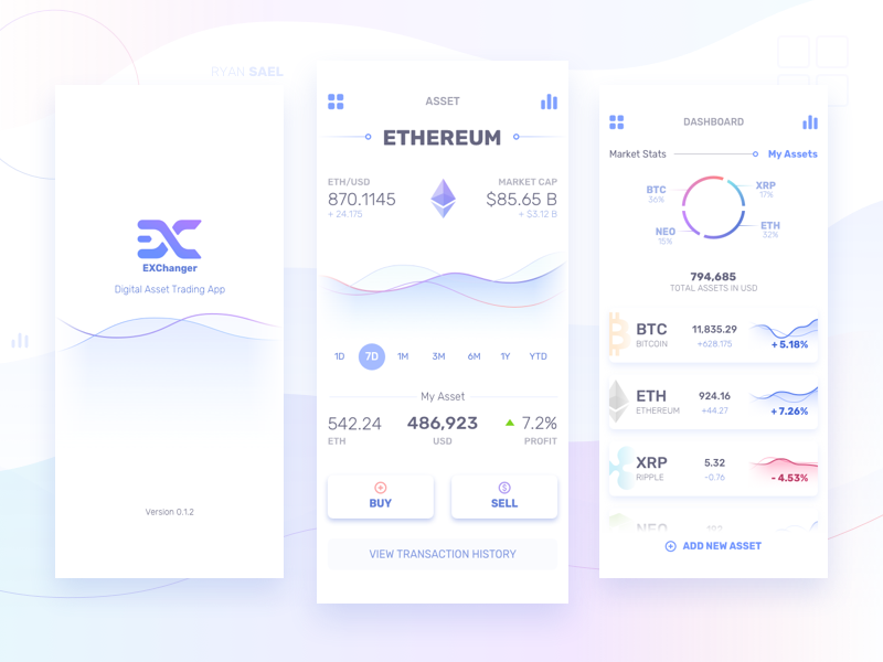 Cryptocurrency Mobile App for iPhone X sketch ux ui mobile app stats dashboard fintech finance ripple ethereum bitcoin cryptocurrency