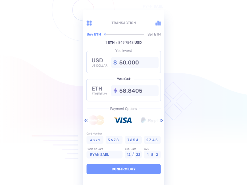 Cryptocurrency Transaction Screen sell buy visa transaction cryptocurrency dashboard finance fintech mobile app sketch ui ux