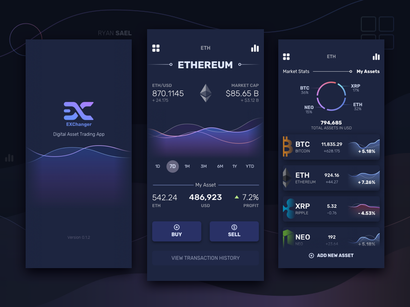 Cryptocurrency App Dark Version cryptocurrency bitcoin ethereum ripple finance fintech dashboard stats mobile app ui ux sketch