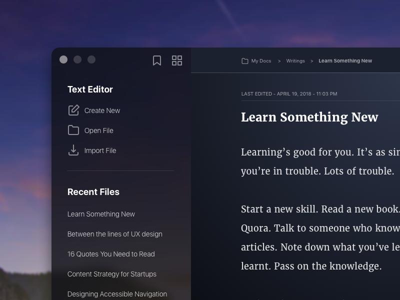 Text Editor - Night Mode design ux ui notes writer night mode dark editor text text editor