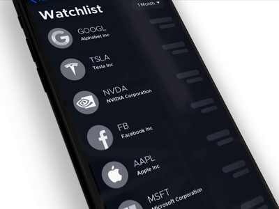 Stock Watchlist App animation fintech stats finance interaction design sketch mobile app design ux ui