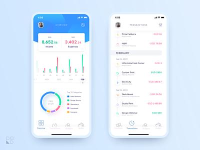 Personal Financial App history transactions dashboard stats finance sketch mobile app design ui