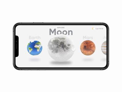 Planets App Exploration 3d swipe planets invision studio interaction design design ux ui