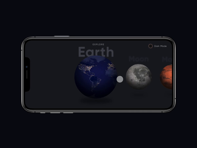 Planet Apps - Dark Mode 3d motion ui dark mode landscape planets animation swipe invision studio interaction design