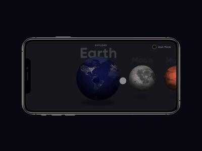 Planet Apps - Dark Mode 3d motion ui dark mode landscape planets animation swipe invision studio interaction design