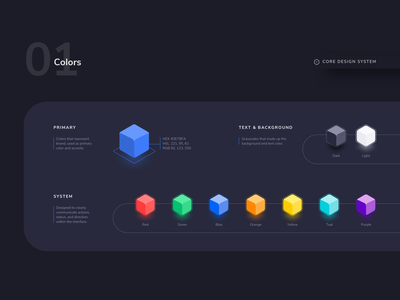 Core Design System - 01 Color - Dark Theme ui kit ui sketch material design design system design guideline design color contrast color system color palettes color palette colorful color 3d color dark color palette dark theme