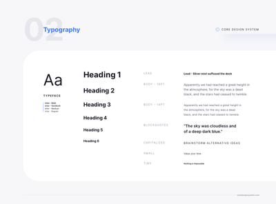 Typography Set for Core Design System atomic design system text hierarchy text typeset typography adobe xd figma sketchapp sketch design ui