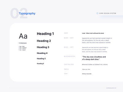 Typography Set for Core Design System atomic design system text hierarchy text typeset typography adobe xd figma sketchapp sketch design ui