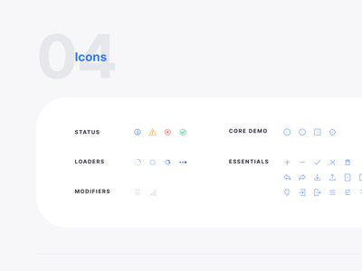 Icon Set for Core Design System line icon iconography status icon loaders dark light design system atomic icon set