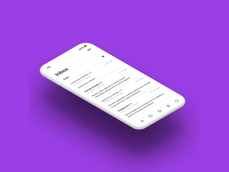 FiscalNote -- Mobile concept ux ui ios mobile interface concept inbox alerts product design