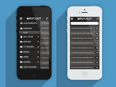 PUT.OUT (put.io x-platform mobile app) ios ui interface flat black charcoal iphone sliding menu sliding menu search