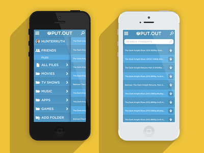 PUT.OUT (put.io x-platform mobile app) Color 1/8 yellow blue iphone iphone 5 ui app sliding sliding menu mockup slide menu