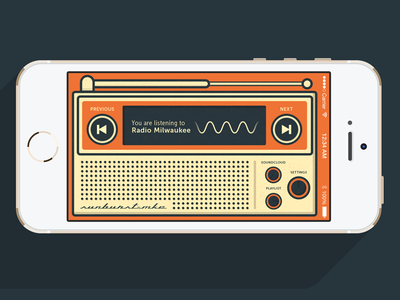 Sunburst - Milwaukee Radio App radio orange retro vintage ui app illustration
