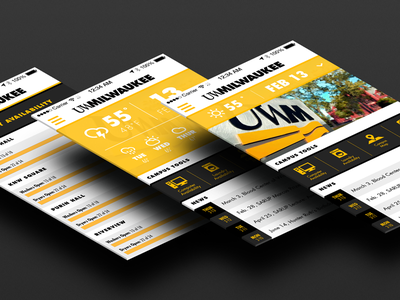 UWM University App Concept university milwaukee ui yellow weather iphone mockup black flat